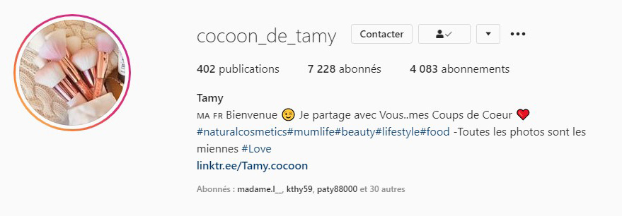 Instagram cocoon de tamy parle de bioléanes