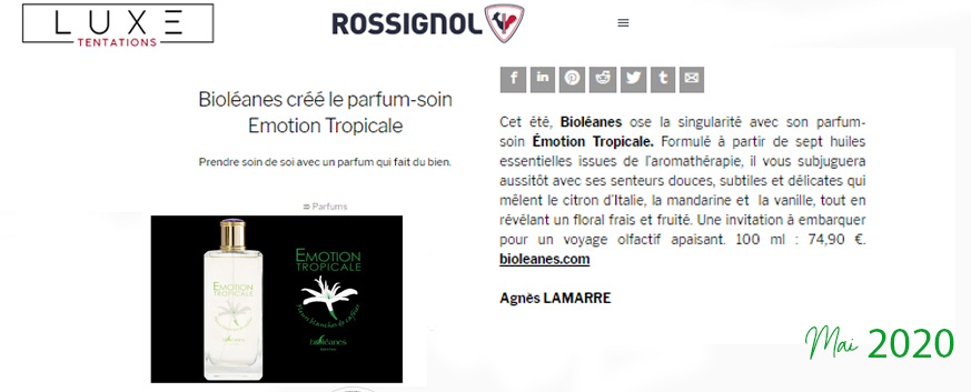 Luxe tentation magazine parle de Bioléanes eau de parfum aromathérapie